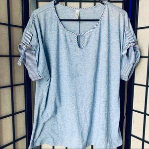 PerSeption Concept blue short sleeve blouse XL